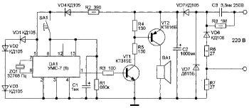 Схема квартирного звонка на УМС-7-8