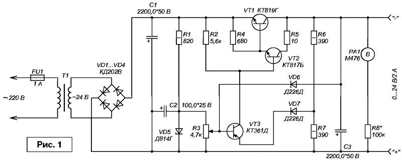 Схема блока питания на 24 вольт 5 ампер