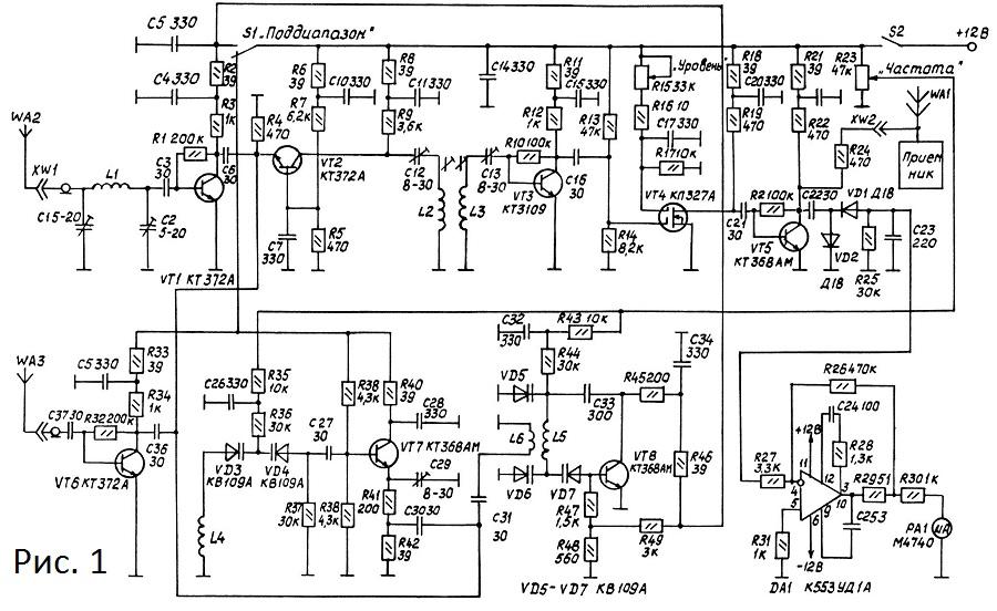 Анализатор спектра радиочастот схема
